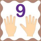 Numero 9 nove, carta educativa, imparante conteggio con le dita illustrazione di stock