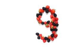 Numero nove con la frutta Immagini Stock Libere da Diritti
