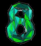 Numero 8 otto nel colore verde di poli stile basso isolato su fondo nero 3d Immagini Stock