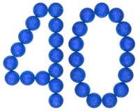 Numero 40, quaranta, dalle palle decorative, isolate sulla parte posteriore di bianco Immagine Stock Libera da Diritti