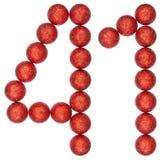 Numero 41, quaranta uno, dalle palle decorative, isolate su bianco Immagini Stock Libere da Diritti