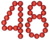 Numero 48, quarantotto, dalle palle decorative, isolate su briciolo Fotografie Stock Libere da Diritti