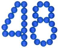 Numero 48, quarantotto, dalle palle decorative, isolate su briciolo Fotografie Stock