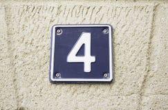 Numero quattro a casa Immagine Stock