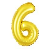 Numero 6 sei dai palloni dorati Fotografia Stock Libera da Diritti