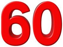 Numero 60, sessanta, sessanta, isolato su fondo bianco, rende 3d Immagine Stock