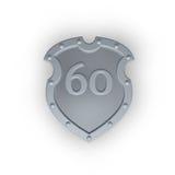 Numero sessanta sullo schermo del metallo Fotografie Stock Libere da Diritti