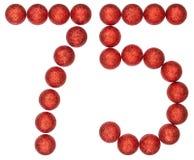 Numero 75, settantacinque, dalle palle decorative, isolate sul whi Fotografia Stock Libera da Diritti
