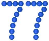 Numero 77, settantasette, dalle palle decorative, isolate su wh Fotografie Stock Libere da Diritti