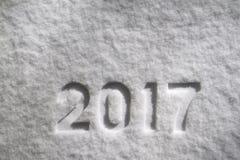 Numero 2017 su neve Immagine Stock