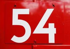 Numero 54 su rosso Fotografia Stock Libera da Diritti