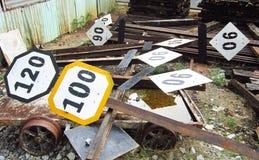 Numero sull'etichetta del segnale di pericolo Fotografia Stock