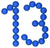 Numero 13, tredici, dalle palle decorative, isolate sulla b bianca Fotografie Stock
