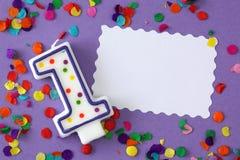 Numero una candela di compleanno Immagini Stock