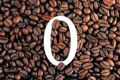 Numero zero sul concetto del fondo del chicco di caffè Fotografia Stock