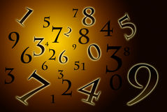 Numerology (the ancient science). A lot of numbers on a beautiful art background Royalty Free Stock Image