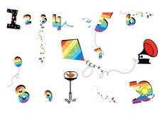 numerology Feest en vreugde Grappige multicolored cijfers, een vlieger, een ballon, een aquarium aangaande de lijst, een grammofo stock illustratie