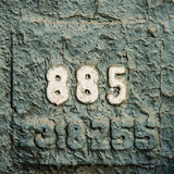Numerology or magic of digits 885. Number 885 eight hundred eighty five, painted with white paint on the wall covered with grunge peeled off green and blue Royalty Free Stock Photos