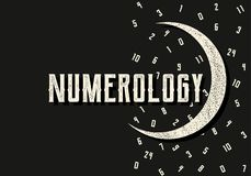 Numerology. Mystical vector illustration with figures and moon in retro style. Signs of destiny Stock Image
