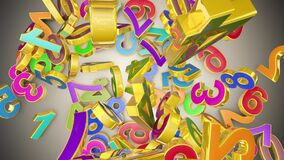 Numerology secret knowledge of numbers. Gold multi-colored numbers. Mathematical background. 3D animation.
