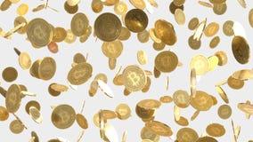 Numeroso oro di galleggiamento Bitcoins su un fondo leggero semplice royalty illustrazione gratis