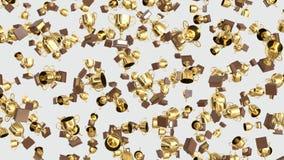Numeroso oro di galleggiamento Trophys su un fondo leggero semplice royalty illustrazione gratis