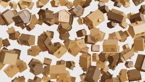 Numeroso Toy Wooden Houses di galleggiamento su un fondo leggero semplice illustrazione vettoriale