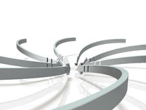 Numerous arrows flowing into the center. 3D illustration Royalty Free Stock Photography