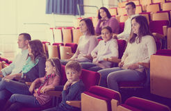 Numerous audience attending movie night Stock Images