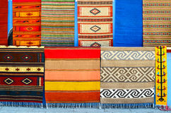 Numerous authentic covers at display at the market in Oaxaca Stock Images