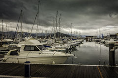 Numerous boats and yachts moored in the harbor Stock Photo