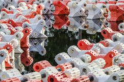 Colorful Buoys Floating on Water stock photos