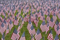 Numerous commemorative US flags Royalty Free Stock Photo