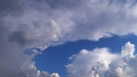 Numerous dense and soft clouds covering the sky in 4k. Skyscape.