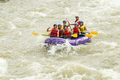 Numerous Family On Whitewater Rafting Trip Stock Photo