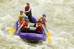 Numerous Family On Whitewater Rafting Trip royalty free stock image