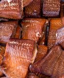 Grilled Salmon Steaks Displayed at Farmers Market royalty free stock photos