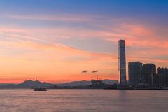 Evening and night view of magnificent cityscape on both sides of Victoria Harbour Hong kong stock images