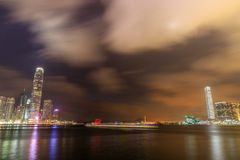 Evening and night view of magnificent cityscape on both sides of Victoria Harbour Hong kong royalty free stock photos