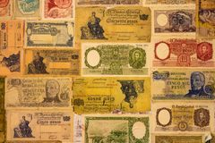 Numerous old banknotes of the Argentine Republic stock photo
