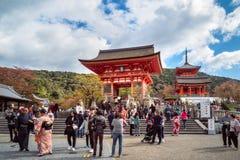 Numerous people visiting Kiyomizu-dera Buddhist Temple in Kyoto, Japan. Kyoto, Japan -November 2, 2018: People are visiting the popular Kiyomizu-dera Buddhist stock images