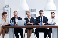 Numerous recruitment committee. Waiting for candidates for a new job Royalty Free Stock Photo