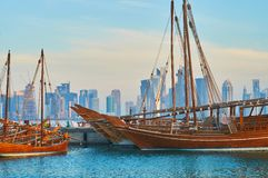 The view through the dhow boats, Doha, Qatar Royalty Free Stock Photos