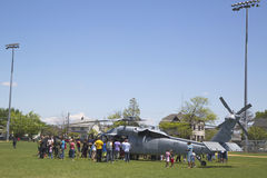 Numerous spectators around MH-60S helicopter from Helicopter Sea Combat Squadron Five during Fleet Week 2014 Stock Photography