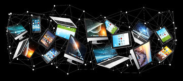 Numerous tech devices flying '3D rendering' Royalty Free Stock Images