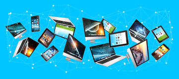 Numerous tech devices flying '3D rendering' Royalty Free Stock Photos