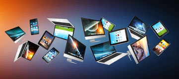 Numerous tech devices flying '3D rendering' Royalty Free Stock Photography