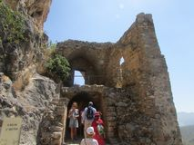 Numerous tourists in the medieval crusader fortress of the 12th century. stock image