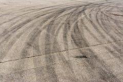 Numerous Traces of braking tires on the asphalt stock photo