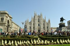 Numerous visitors to Duomo square during Carnival. Royalty Free Stock Photo